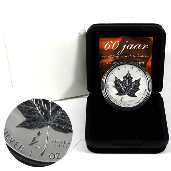 2005 Canada Privy Mark Tulip 1oz Fine Silver Maple Leaf. (TAX Exempt) *SCARCE*