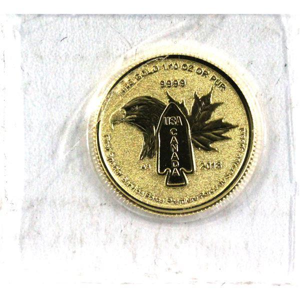 2018 Canada 1/10oz Devil's Brigade .9999 Fine Gold Coin in Sealed Mint Plastic. (TAX Exempt)