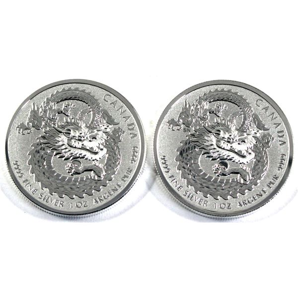 2019 Canada $5 Lucky Dragon High Relief 1oz .9999 Fine Silver Coins. 2pcs (TAX Exempt)