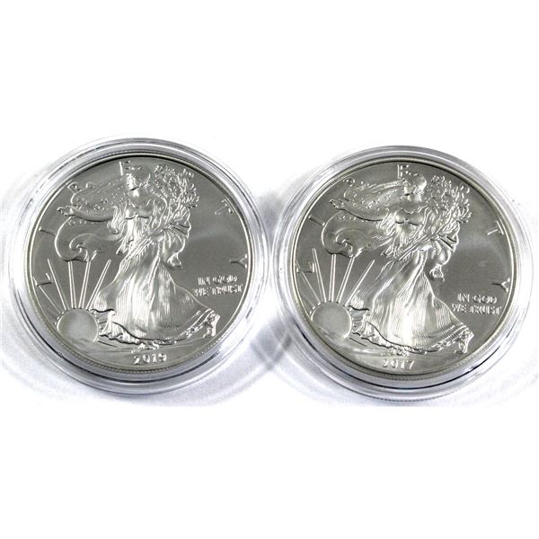 2017 & 2019 USA 1oz .999 Fine Silver Eagles in Capsules (2017 is toned). 2pcs (TAX Exempt)
