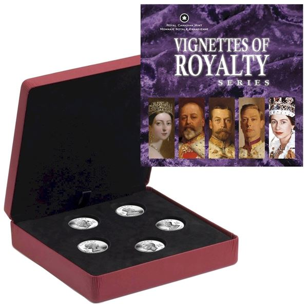 *2008-2009 Canada $15 Vignettes of Royalty 5-Coin Sterling Silver Series (Queen Victoria COA missing