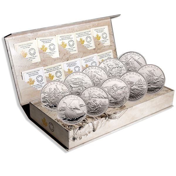 *2014-2015 Canada $15 Exploring Canada Complete 10-coin Fine Silver Set in Deluxe Display. (TAX Exem