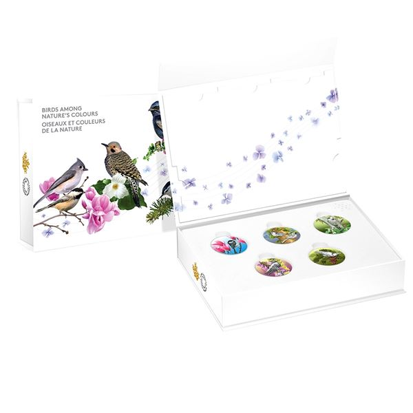 2017 Canada $10 Birds Among Nature's Colours 5-coin Fine Silver Set with Deluxe Box. TAX Exempt