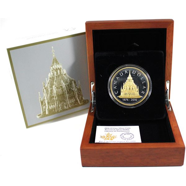 2016 Canada $1 Library of Parliament Renewed Silver Dollar Fine Silver Coin (TAX Exempt)
