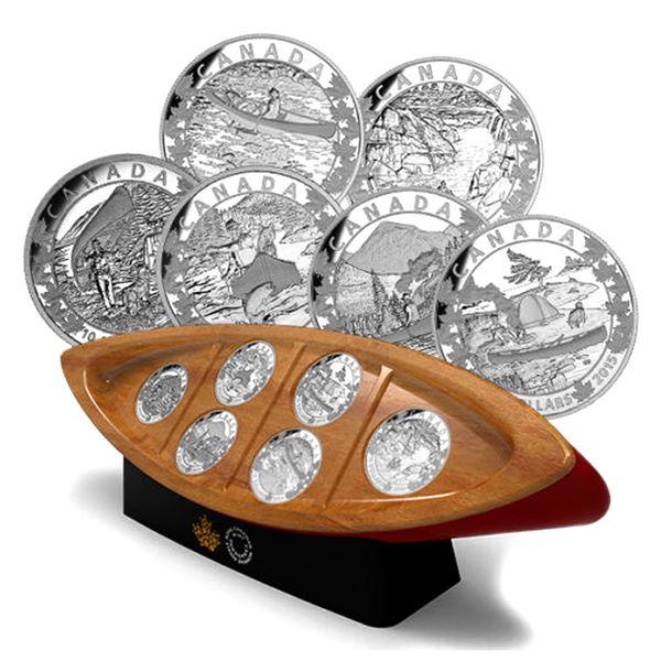 *2015 $10 Canoe Across Canada 6-coin Fine Silver Set Inside Canoe Shaped Box. TAX Exempt