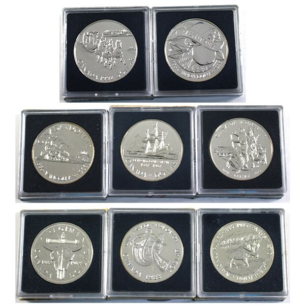 1982, 1983, 1985, 1986, 1987, 1990, 1992 & 1996 Canada Brilliant Uncirculated Silver Dollars. 8pcs