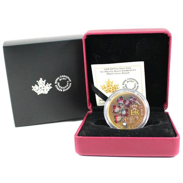 2018 Canada $20 Queen Elizabeth II's Maple Leaves Brooch Fine Silver Coin with Pearl Insert. Coin fe