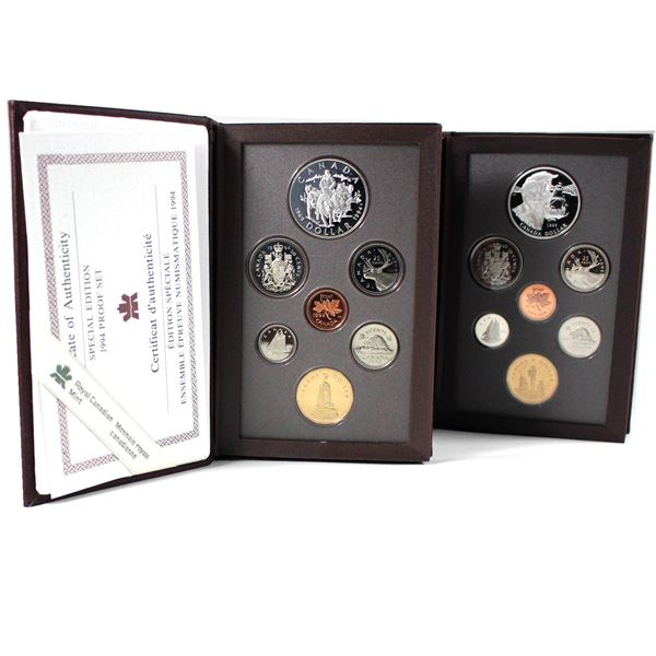 1994 & 1995 Canada Limited Edition 7-coin Proof Double Dollar Sets with Red Covers. 2pcs