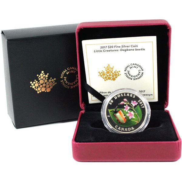 2017 Canada $20 Little Creatures - Venetian Glass Dogbane Beetle Fine Silver Coin (Capsule is impair