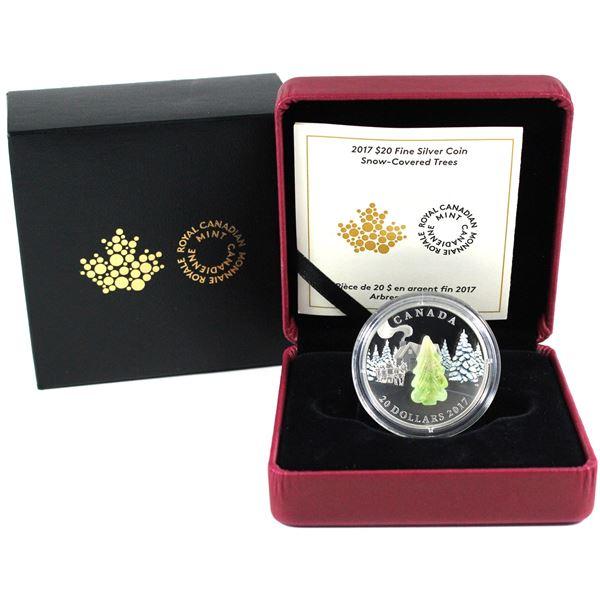 2017 Canada $20 Murano Glass Snow Covered Trees Fine Silver Coin.