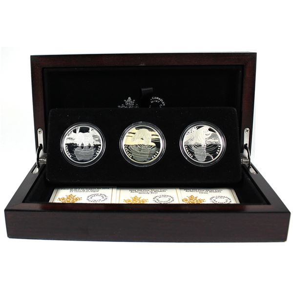2016 Canada Reflections of Wildlife 3-coin Set in Deluxe Case. TAX Exempt