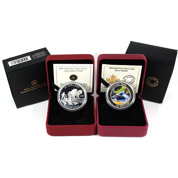 2008 Canada $20 Agriculture Trade & 2014 $20 River Rapids Fine Silver Coins. 2pcs (TAX Exempt)