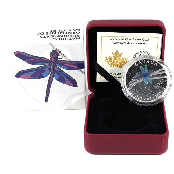 2017 Canada $20 Nature's Adornments - Dragonfly Fine Silver Coin. (Tax exempt)