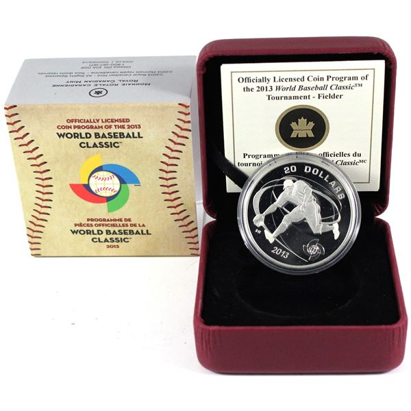 2013 Canada $20 World Baseball Classic - Fielder Fine Silver Coin. TAX Exempt