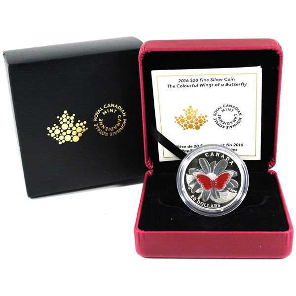 2016 Canada $20 The Colourful Wings of a Butterfly Silver Coin.