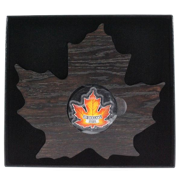 2016 $20 Canada's Colourful Maple Leaf Shaped Fine Silver Coin. (TAX Exempt)