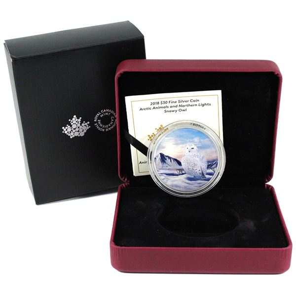 2018 Canada $30 Arctic Animals & the Northern Lights - Snowy Owl Fine Silver Coins. TAX Exempt