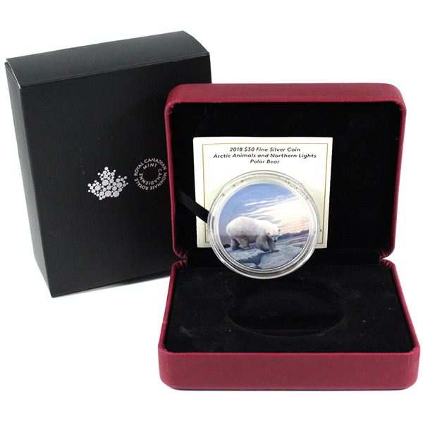 2018 Canada $30 Arctic Animals & the Northern Lights - Polar Bear Fine Silver Coin. TAX Exempt