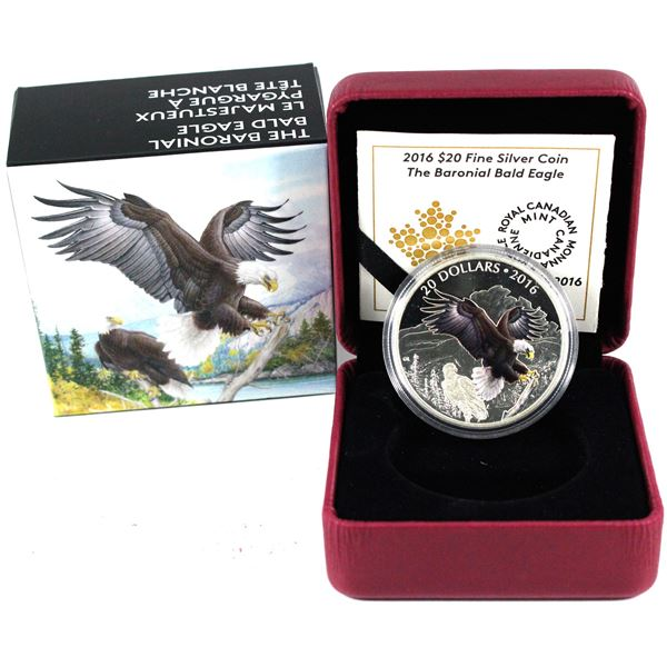 2016 Canada $20 Majestic Animals - Baronial Bald Eagle Fine Silver Coin (Capsule lightly scratched).