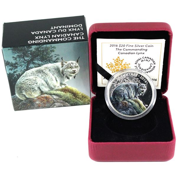 2016 Canada $20 Majestic Animals - The Commanding Canadian Lynx Fine Silver Coin. TAX Exempt