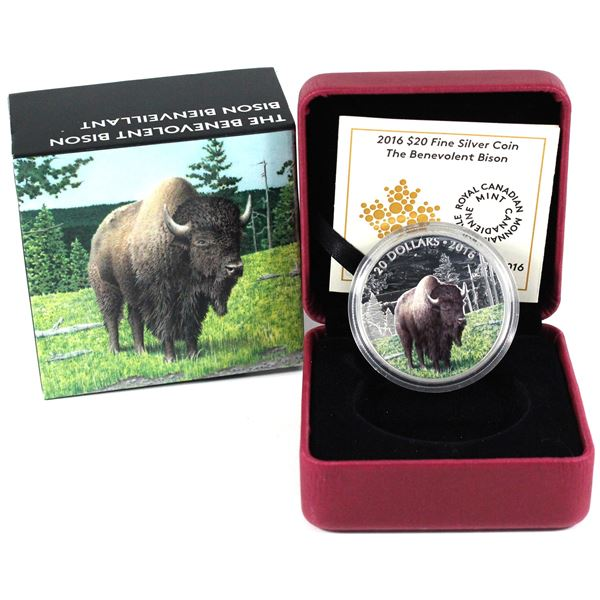 2016 Canada $20 Majestic Animals - The Benevolent Bison Fine Silver Coin. TAX Exempt