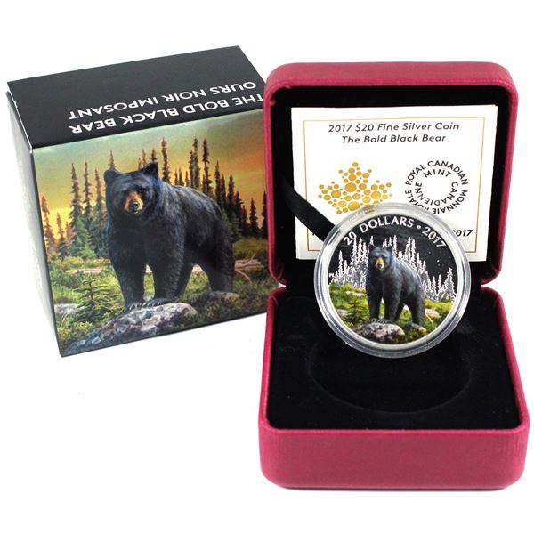 2017 Canada $20 Majestic Animals - The Bold Black Bear Fine Silver Coin. TAX Exempt