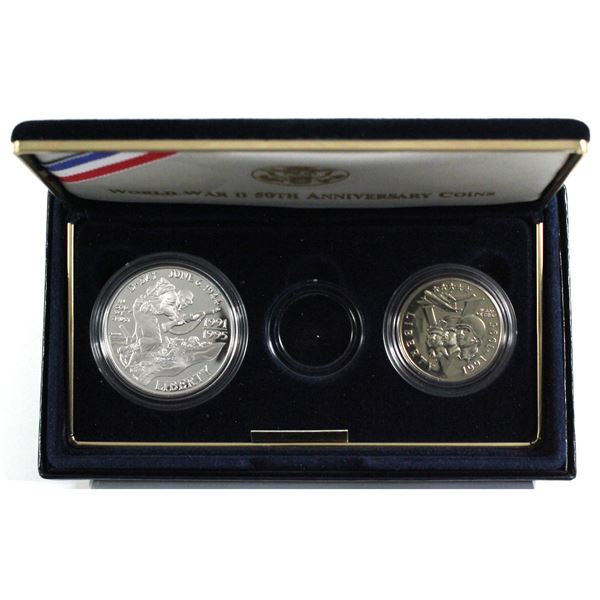 1991-1995 USA World War II 50th Anniversary Coins Set Including the Silver Dollar and Clad Half Doll