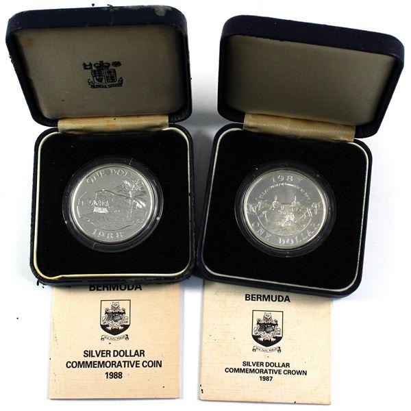 1987 & 1988 Bermuda Silver Dollar Commemorative Crowns in Original Blue Display Boxes and COAs (1988