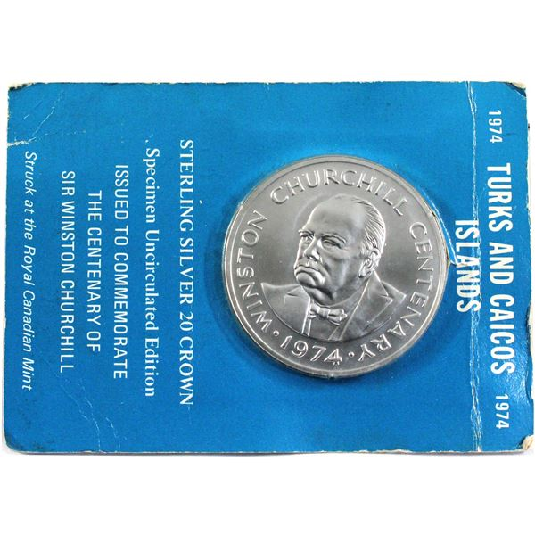 1974 Turks and Caicos Islands 20 Crown Sterling Silver Specimen Coin in Cardboard from the Royal Can