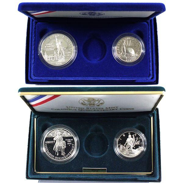 1986 USA Ellis Island Statue of Liberty & 1992 Columbus Quincentenary Silver Dollar and Clad Half Do