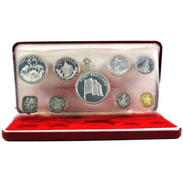1974 Commonwealth of the Bahamas 9-coin Proof Set in All Original Packaging from the Franklin Mint.