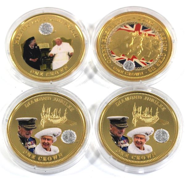 3x 2014 & 1x 2015 Tristan Da Cunha Gold Plated and Coloured Commemorative Crowns in Capsules - 2x 20