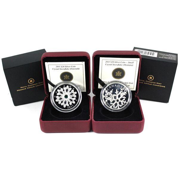 2011 Canada $20 Crystal Snowflake - Emerald & 2011 $20 Small Crystal Snowflake - Montana Fine Silver