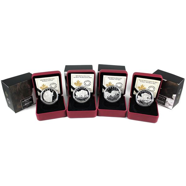 2014 Canada $20 The Bison Series Fine Silver Coins - A Portrait, The Bull and His Mate , The Fight &