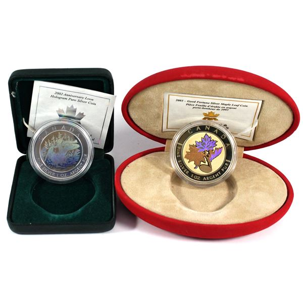 2002 Canada $5 Loon Hologram & 2003 $5 Maple of Good Fortune Hologram Fine Silver Maples (Coins are