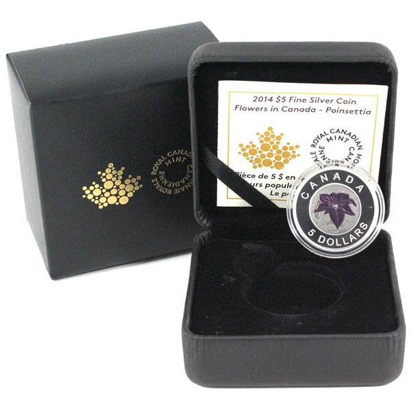 2014 $5 Flowers in Canada - Poinsettia Fine Silver & Niobium Coin. (TAX Exempt)