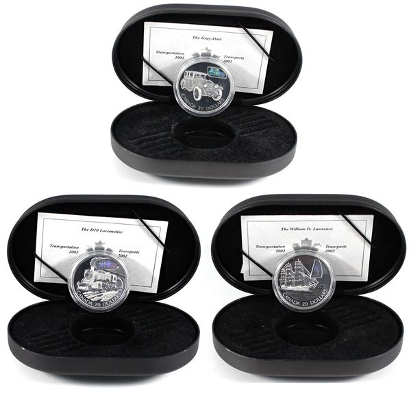 2002 Canada $20 Transportation Series Sterling Silver Coins - Gray-Dort 25-SM Car, William Lawrence