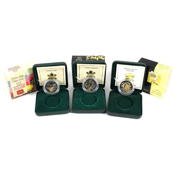 2002-2004 Canada 50-cent Canadian Floral Collection Sterling Silver Coins with Gold Plating - 2002 G