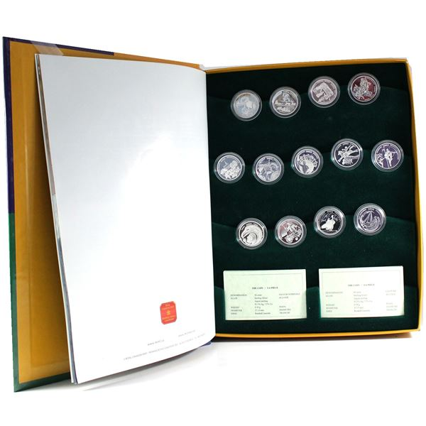 *2001-2003 Canada 50-cent Festivals of Canada 13-Coin Sterling Silver Set (2001 Quebec coin is toned