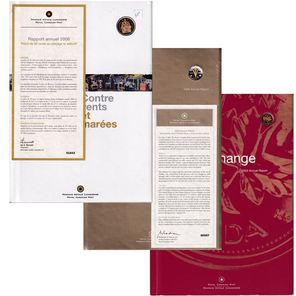 *2003, 2005 & 2006 Royal Canadian Mint's Annual Reports with Special Coins - 2003 Gold Plated 1-cent