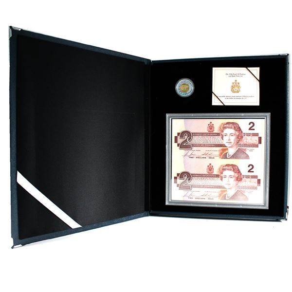 1996 Canada Piedfort $2 Silver & Banknote set in Blue Leatherette Case.