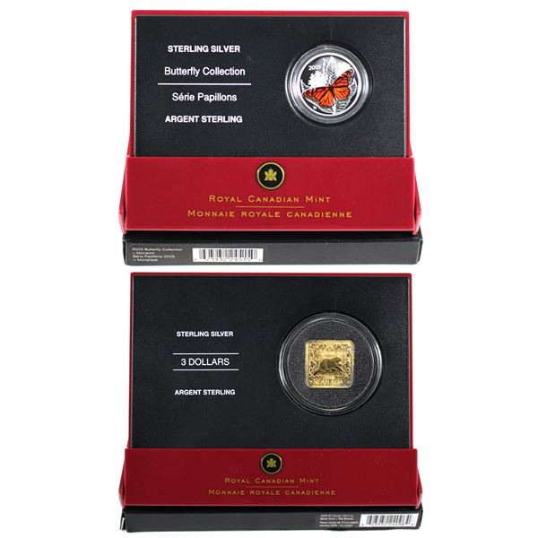 2005 Canada 50-cent Monarch Butterfly & 2006 $3 Square Gold Plated Beaver Sterling Silver Coins. 2pc