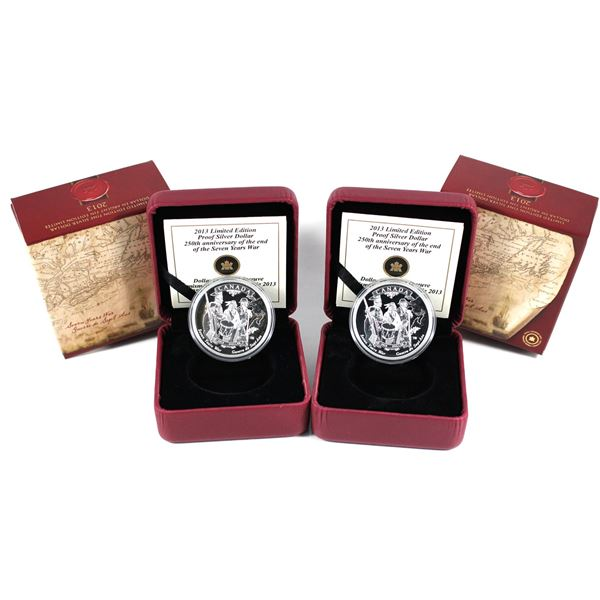 2x 2013 Canada End of the 7 Years War Limited Edition Proof Fine Silver Dollars. 2pcs (TAX Exempt)