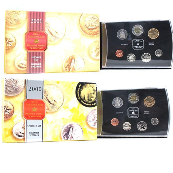 2000 Knowledge & 2001 Canada 7-coin Specimen Sets. 2pcs