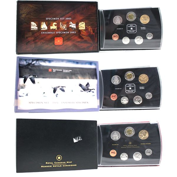 2003, 2004 & 2005 Canada 7-coin Specimen Sets (2005 sleeve is lightly bent with sticker residue & th