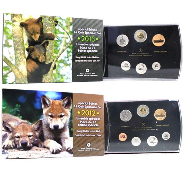 2012 Canada Wolf Cubs & 2013 Black Bear Cubs Special Edition Specimen Sets. 2pcs