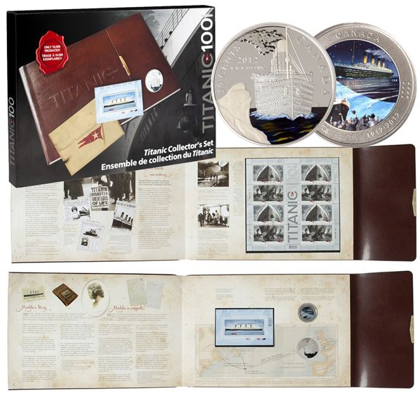 *1912-2012 Canada Titanic 100th Anniversary 2-Coin & Stamp Collector's Set.