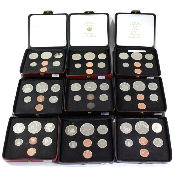 1970-1980 Canada 7-coin Double Penny Sets (Some coins are toned, 1972 snap closure taped on & 1979 s