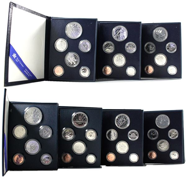 1981-1987 Canada 6-coin Specimen Sets (Some coins may be toned and capsules cracked or scratched). 7