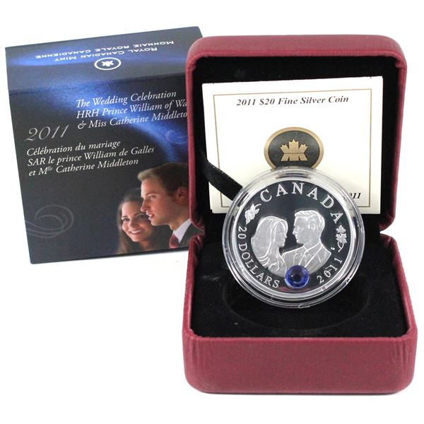 2011 Canada $20 Prince William & Kate Middleton Wedding Fine Silver Coin.